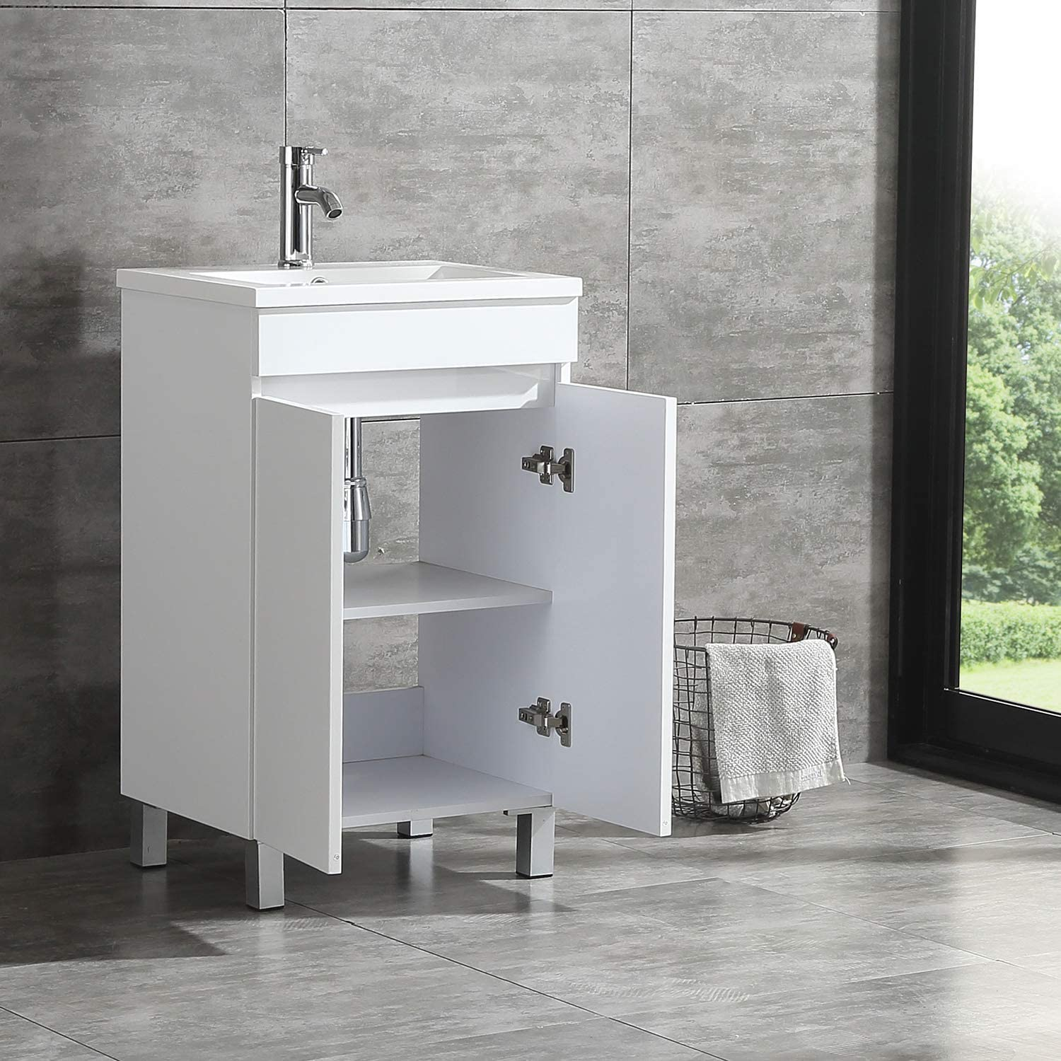 Sliverylake 20 Inch Free Standing Bathroom Vanity Cabinet With 2 Doors Undermount Resin Sink And Chrome Faucet Combo White Amazon Com
