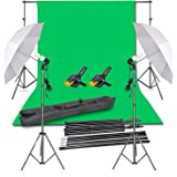 Emart Photography Backdrop Continuous Umbrella Studio Lighting Kit, Muslin Chromakey Green Screen and Background Stand Suppor