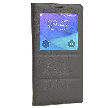 achilles Funda Protectora con S-View para Galaxy Note 4, Cubierta Funda abatible Chip S-View Cubierta Protectora Negro