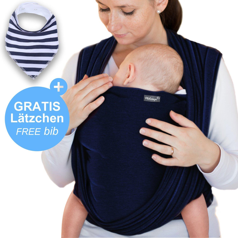 Portabebés azul marino - portabebés de alta calidad para recién nacidos y bebés hasta 15 kg - hecho de algodón suave - incluye bolsa para guardar y babero GRATIS - precioso diseño de Makimaja®