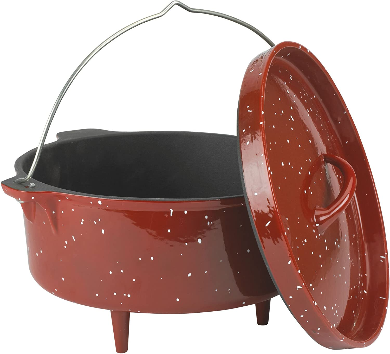 Stansport Gourmet Castware 12 Quart Dutch Oven, Red