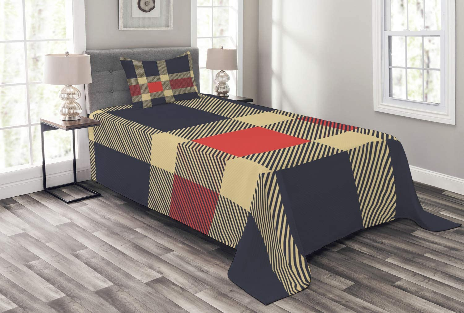 Ambesonne Checkered Bedspread, Vintage Plaid Scottish Tartan Pattern with Retro Display Checks Lines, Decorative Quilted 2 Piece Coverlet Set with Pillow Sham, Twin Size, Blue Coral