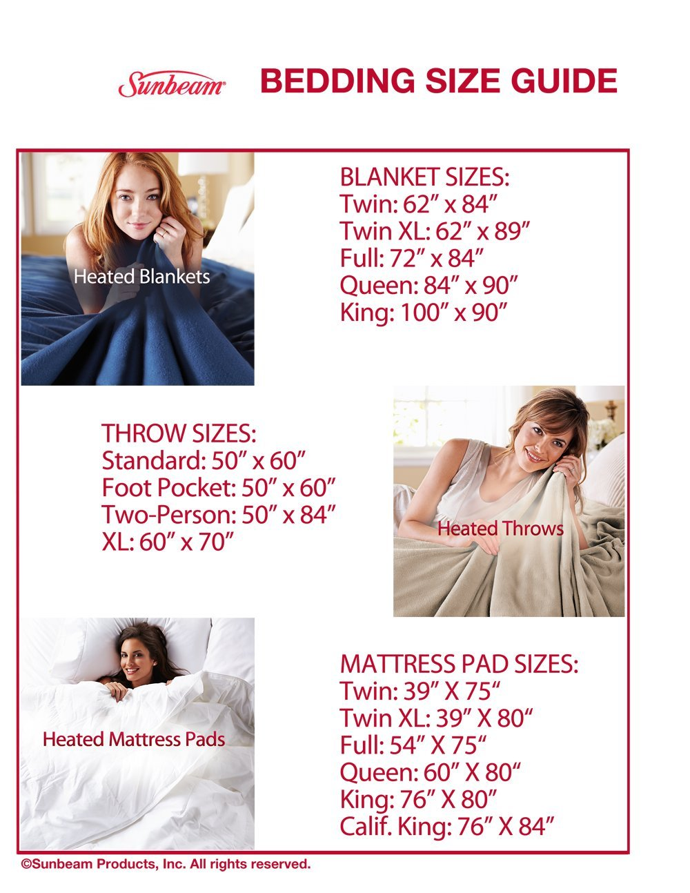 Sunbeam Quilted Heated Mattress Pad with SleekSet Controller Full