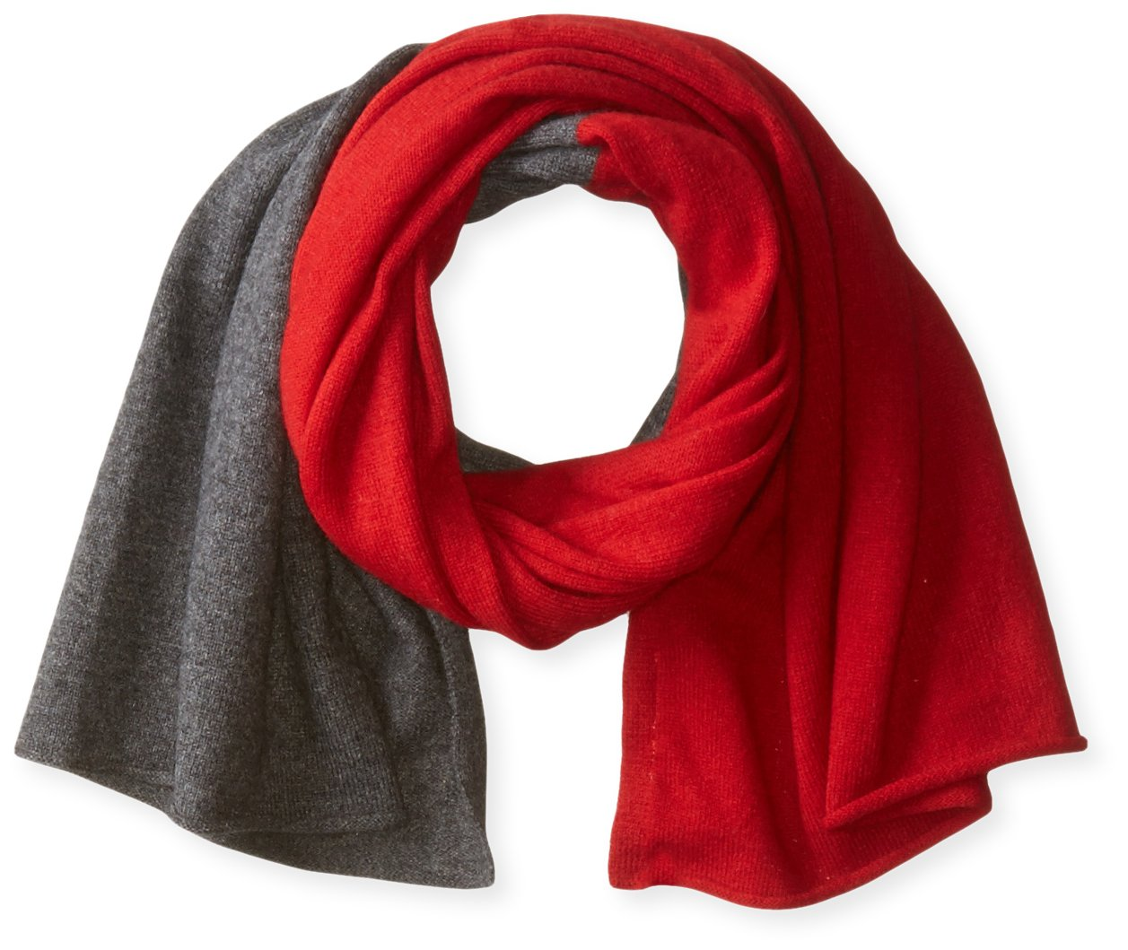bela.nyc Women's Cashmere Two-Color Scarf, Bright Crimson/Charcoal Heather, One Size