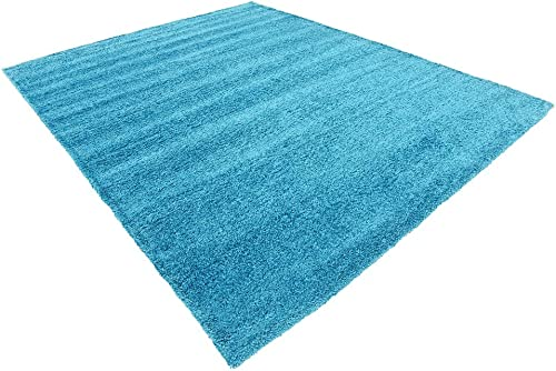 Unique Loom Solo Collection Solid Plush Kids Turquoise Area Rug 8' 0 x 10' 0