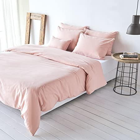 Traumschlaf Uni Leinen Bettwäsche Rose 1 Bettbezug 200 x 200 cm + 2 Kissenbezüge 80 x 80 cm