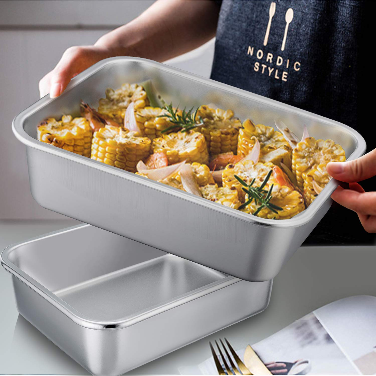 TeamFar Lasagna Pan Set of 2, Brownie Pan Rectangle Cake Pan Stainless Steel, Heavy Duty & Healthy, Easy Clean & Dishwasher safe, Brushed Surface-13 & 10 inch by TeamFar (Image #6)
