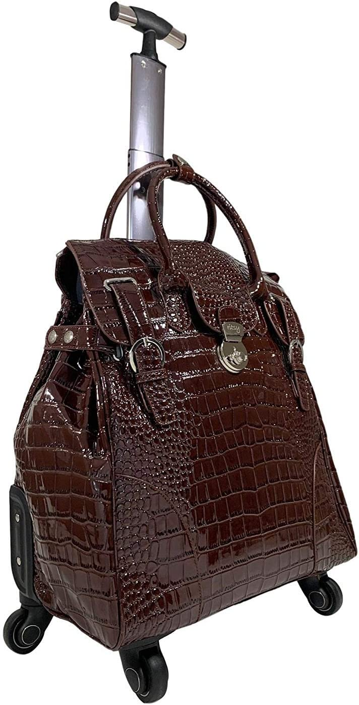 "Ritsy 20"" Computer Laptop Tote Rolling Wheel Case Luggage Carry-on Purse Bag""Sandhill Skipper"" (Brown Croc)"