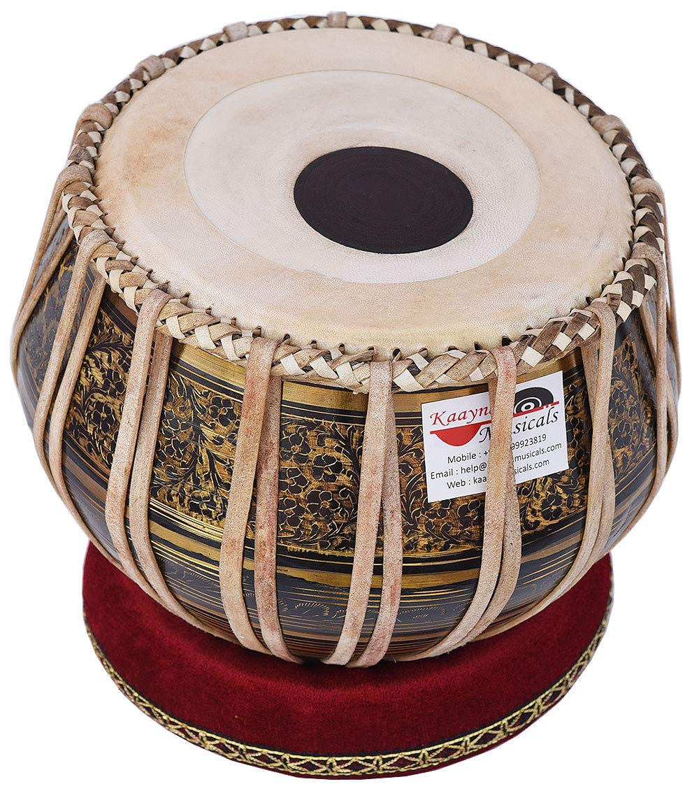 Tabla Drum Set, 2.5 Kg Black Painted Designer Brass Bayan, Beautiful Look, Sheesham Wood Dayan, Hand Made Drum Skin, Camel Leather Strap to Tune, Comes with Tuning Hammer, Gig Bag, Cushion & Cover by Kaayna Musicals (Image #6)