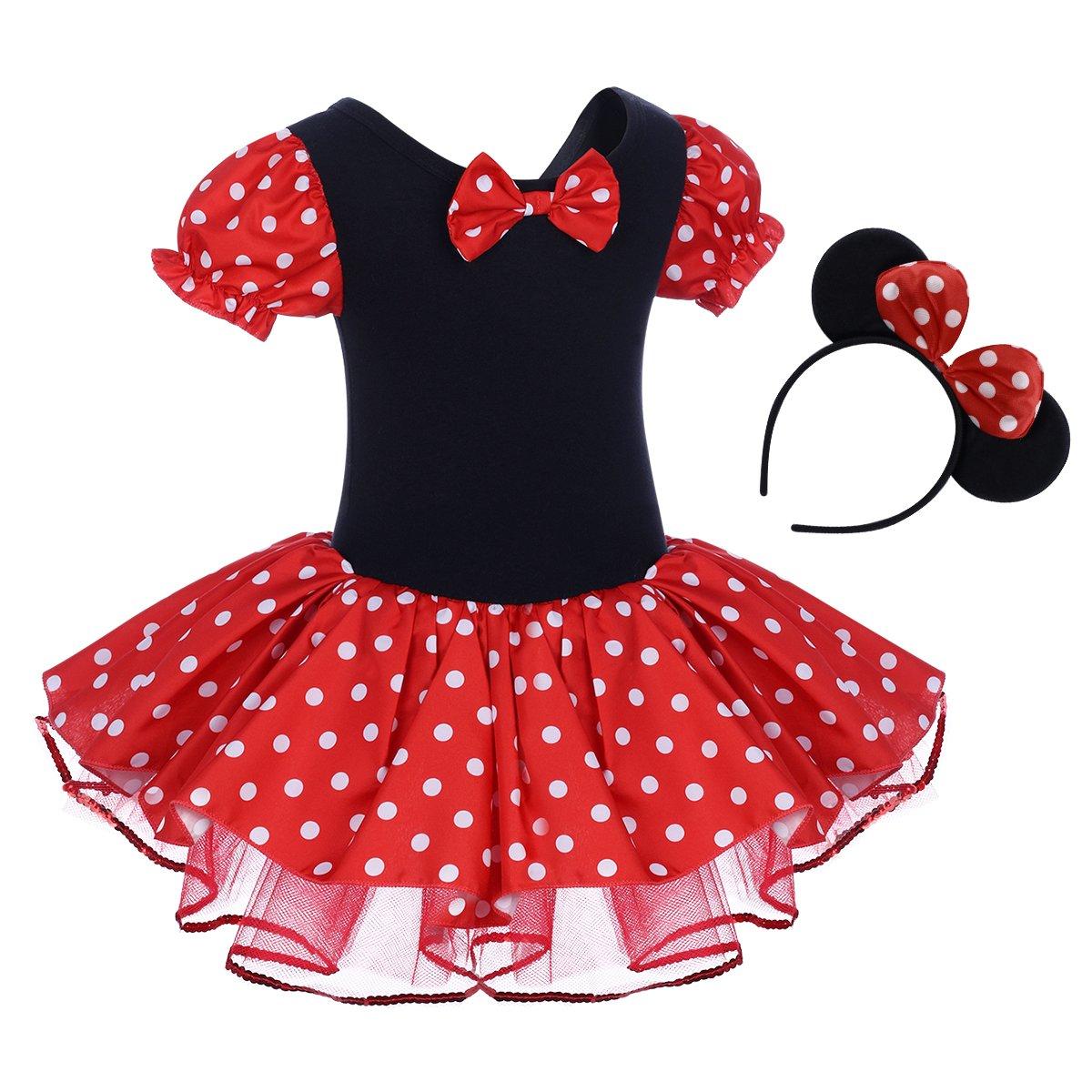 8601b6291 Amazon.com: IBTOM CASTLE Toddler Girl Polka Dots Party Fancy Costume Tutu  Dress up Dance Leotard Gymnastic Cosplay Cartoon Ear Headband: Clothing