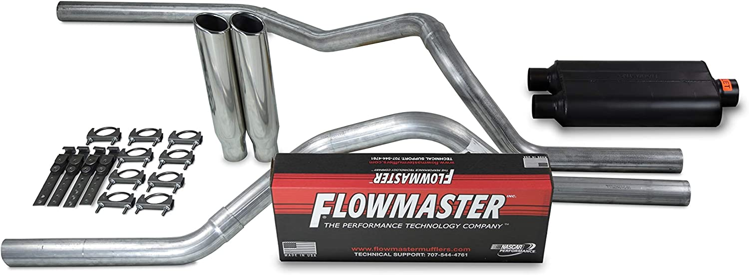 Shop Line dual exhaust system 2.5 AL pipe Flowmaster 50 2.5 Polished Rolled Edge Clamp on Tip Truck Exhaust Kits