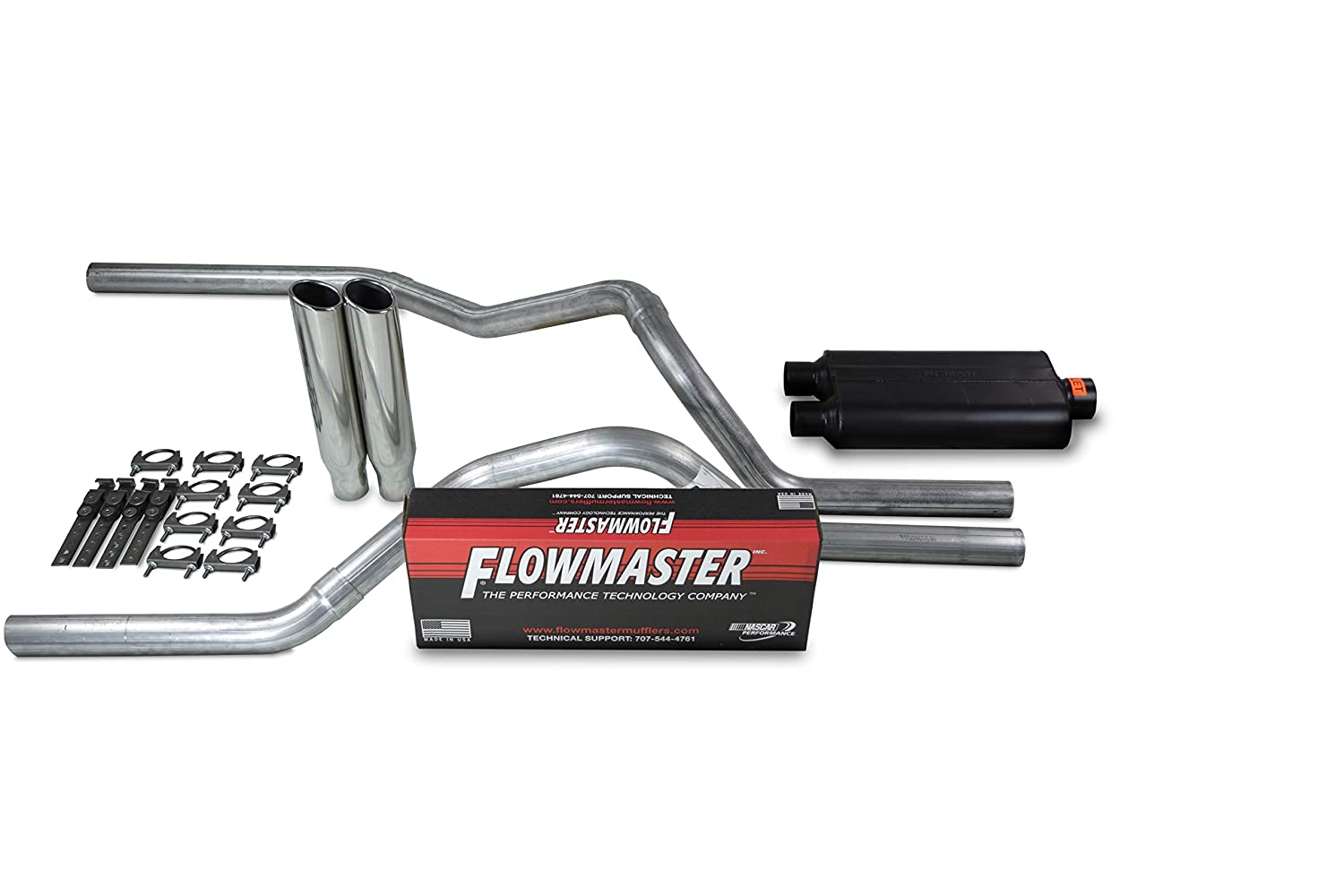 Truck Exhaust Kits Shop Line dual exhaust system 2.5 AL pipe Flowmaster 50 2.5 Polished Rolled Edge Clamp on Tip