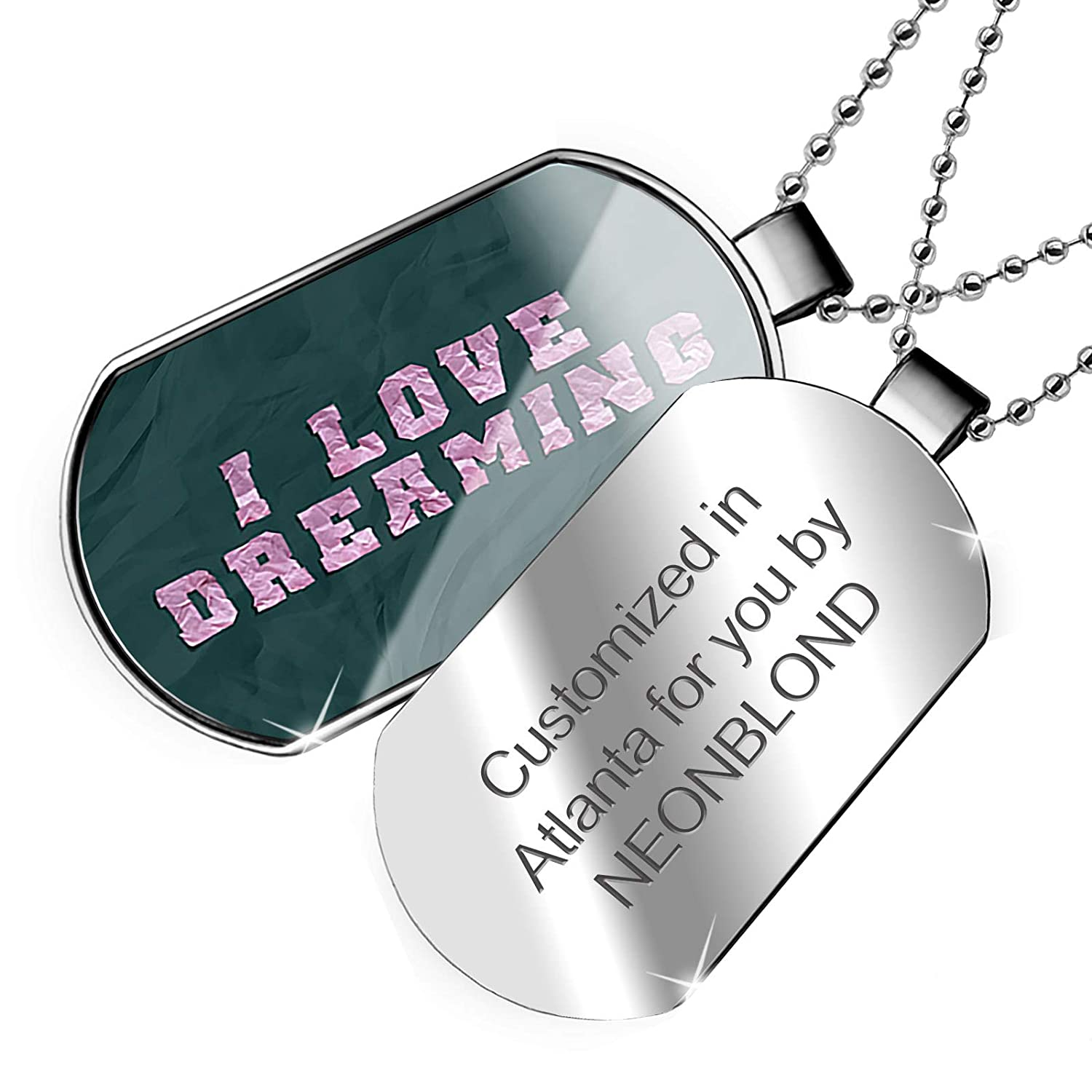NEONBLOND Personalized Name Engraved I Love Dreaming Folded Paper Art Dogtag Necklace