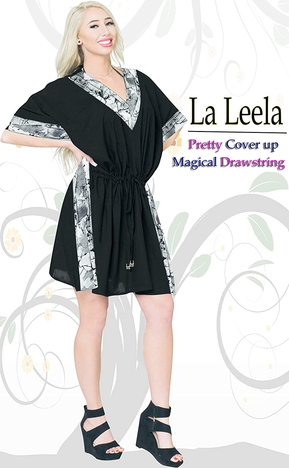 LA LEELA Women Cover up Beach Dress Bikini Stylish Swimwear Short Cover up