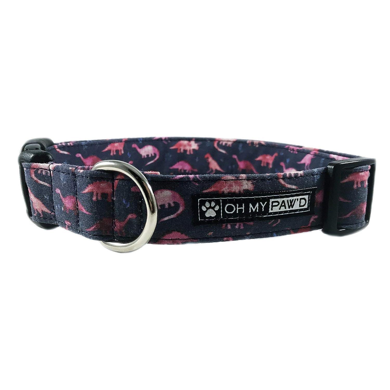 Pink Dinosaur Dog or Cat Collar for Pets Size Medium 3/4