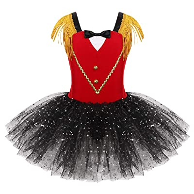 moily Big Girls Ringmaster Circus Show Costume Gentleman Texudo Bodice Tutu Dresss with Bow Tie: Clothing