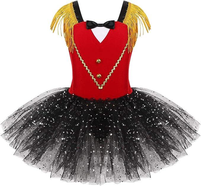 MSemis Disfraz Domadora para Niñas Vestido de Circo Rojo Falda ...