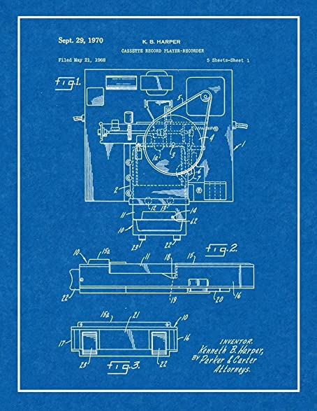 Amazon cassette record player recorder patent print art poster cassette record player recorder patent print art poster blueprint with border 11quot malvernweather Image collections