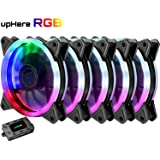upHere 5-Pack Wireless RGB LED 120mm Case Fan,Quiet Edition High Airflow Adjustable Color LED Case Fan for PC Cases, CPU Coolers,Radiators system
