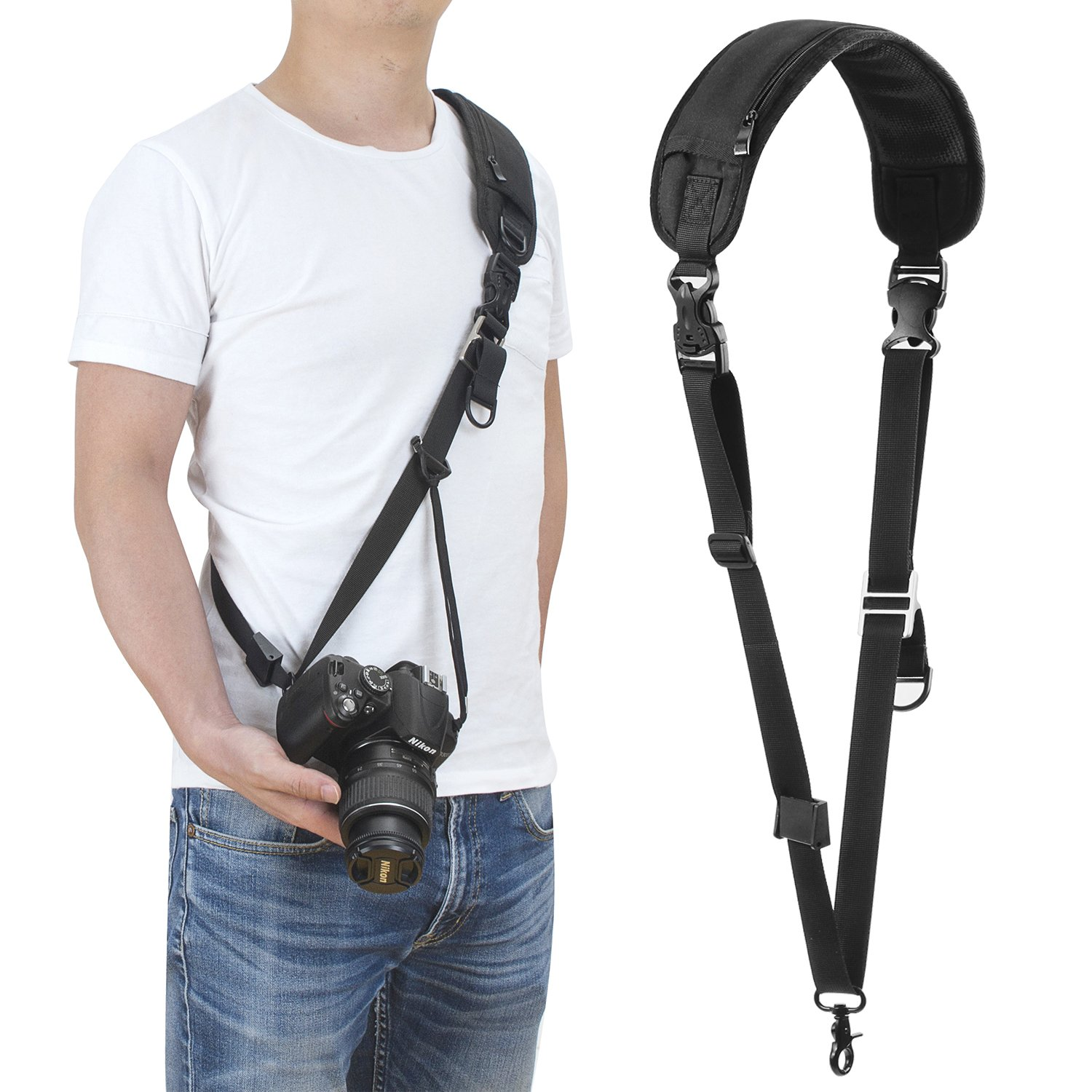 waka Camera Strap, DSLR Camera Neck Shoulder Strap, Soft Neoprene Camera Sling Strap with Quick Release and Safety Tether for Canon, Fujifilm, Nikon, Panasonic, Sony and More DSLR (Black) by waka