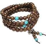 Top Plaza Unisex 108 Natural Wood 6mm 8mm Beads Bracelet Meditation Buddhist Rosary Mala Necklace