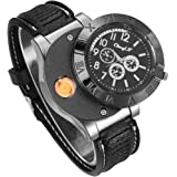 CkeyiN; Unisex wristwatch Quartz Watch with USB, Rechargeable Windproof Flameless Cigarette Lighter-black