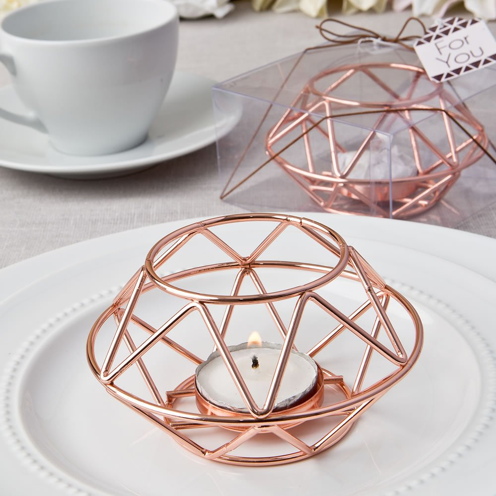 32 Geometric Design Rose Gold Metal Tealight Candle Holders