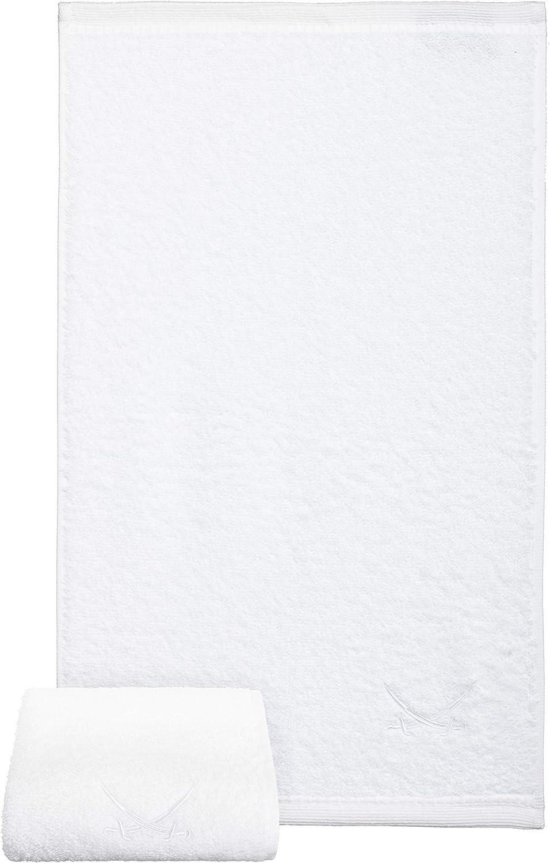 White 2-Set Sansibar Guest Towel with Embroidered Sabre Logo Set Hand Towel Flannel 100/% Cotton 30 x 50 cm
