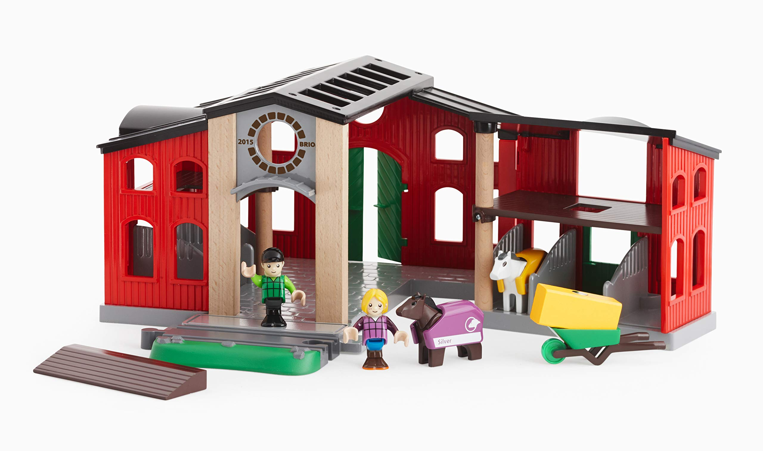 BRIO World - 33791 Horse Stable   12 Piece Toy and Train Accessory for Kids Ages 3 and Up by Brio