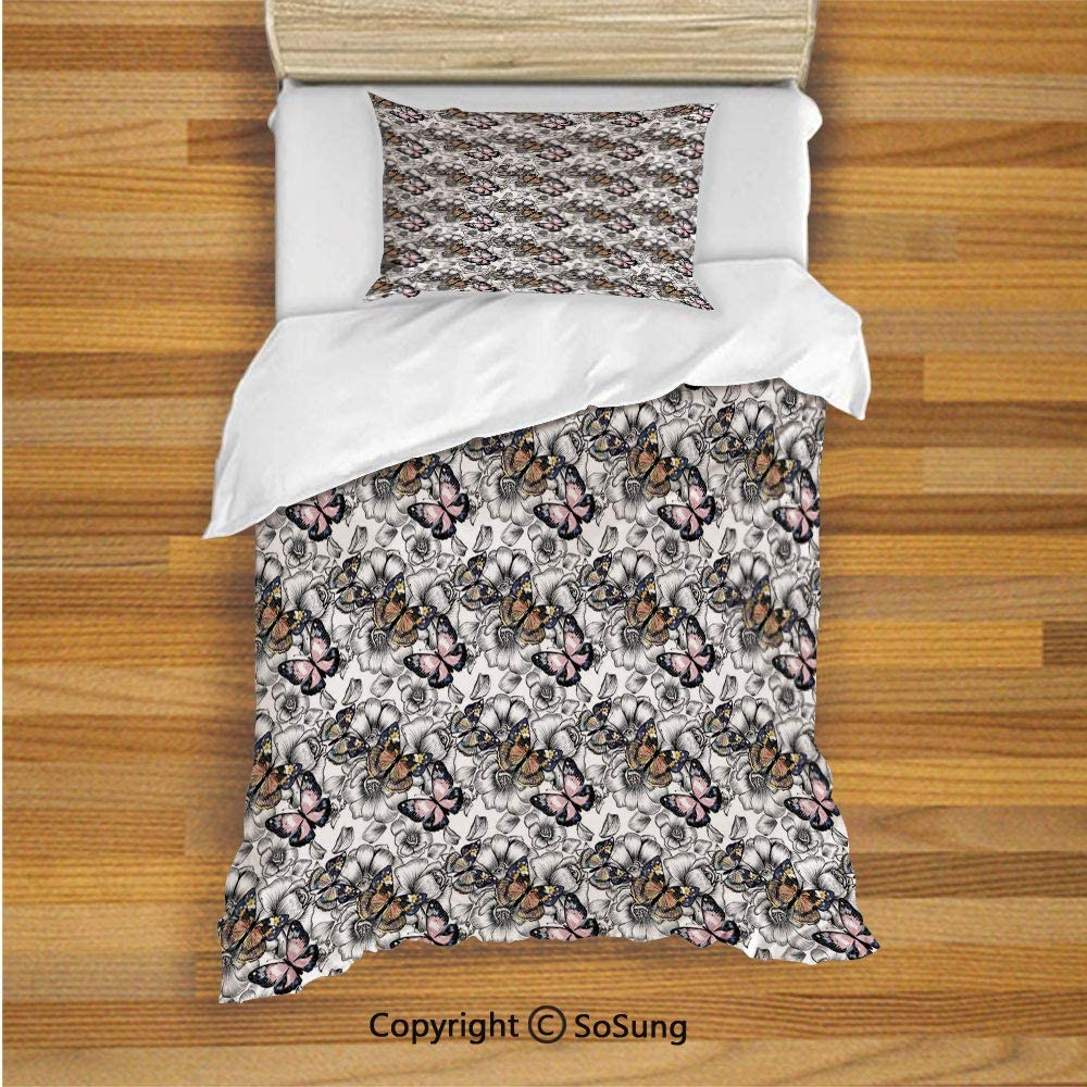 Kids Duvet Cover Set Twin Size, Monochrome Floral with Colorful Summer Season Animal Blooming Flowers 2 Piece Bedding Set with 1 Pillow Sham,Pale Pink Orange Black