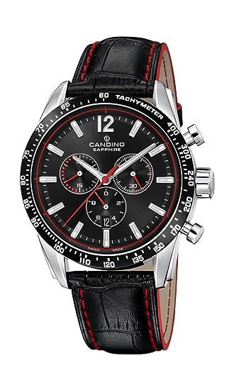 Candino Reloj Cronógrafo para Hombre de Cuarzo con Correa en Cuero C4681/4: Amazon.es: Relojes