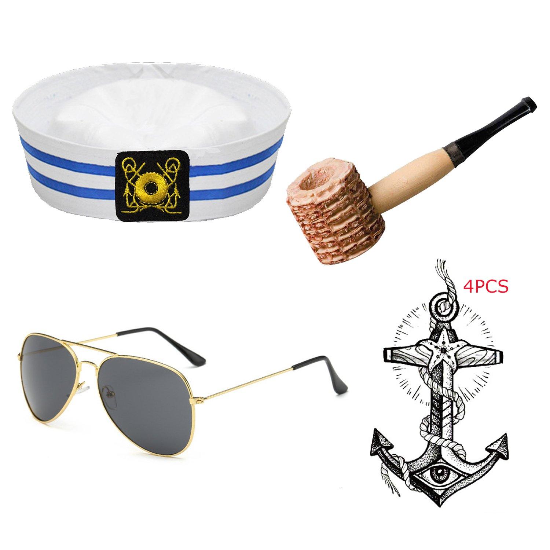 Yacht Captain & Sailor Costume Set - Hat,Corn Cob Pipe,Aviator Sunglasses,Vintage Anchor Temporary Tattoo (OneSize, S5)
