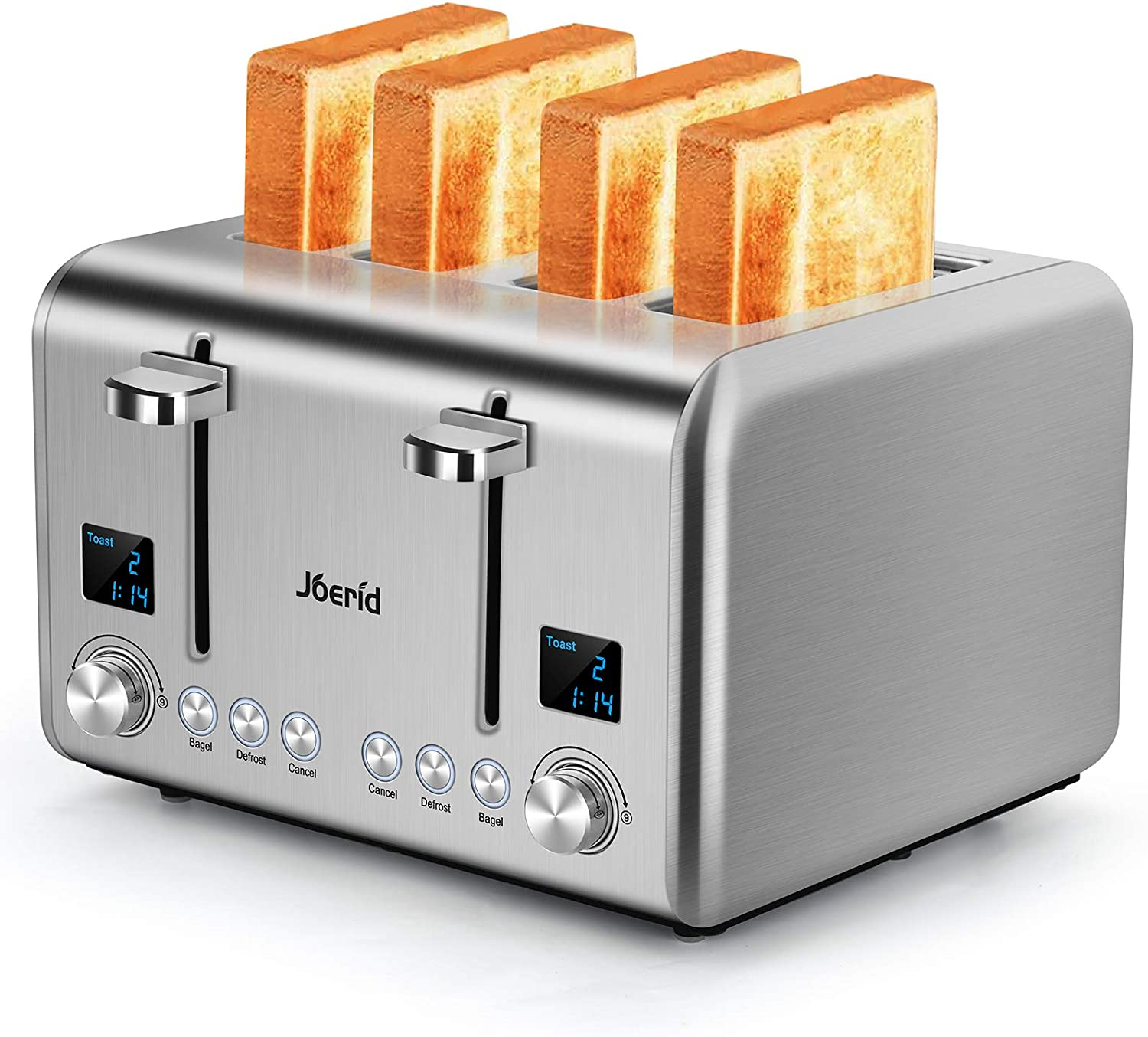 Joerid 4-Slice Toaster,Extra-Wide stainless steel toaster with Timer - Toast - Bake - Broil Settings,Removable Crumb Tray