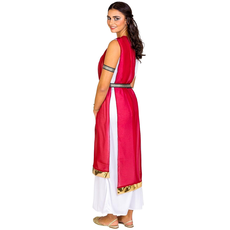 dressforfun Disfraz para mujer de la ciudadana romana reina diosa antiguo | vestido + cinturón elegante & brazaletes superiores (L | no.