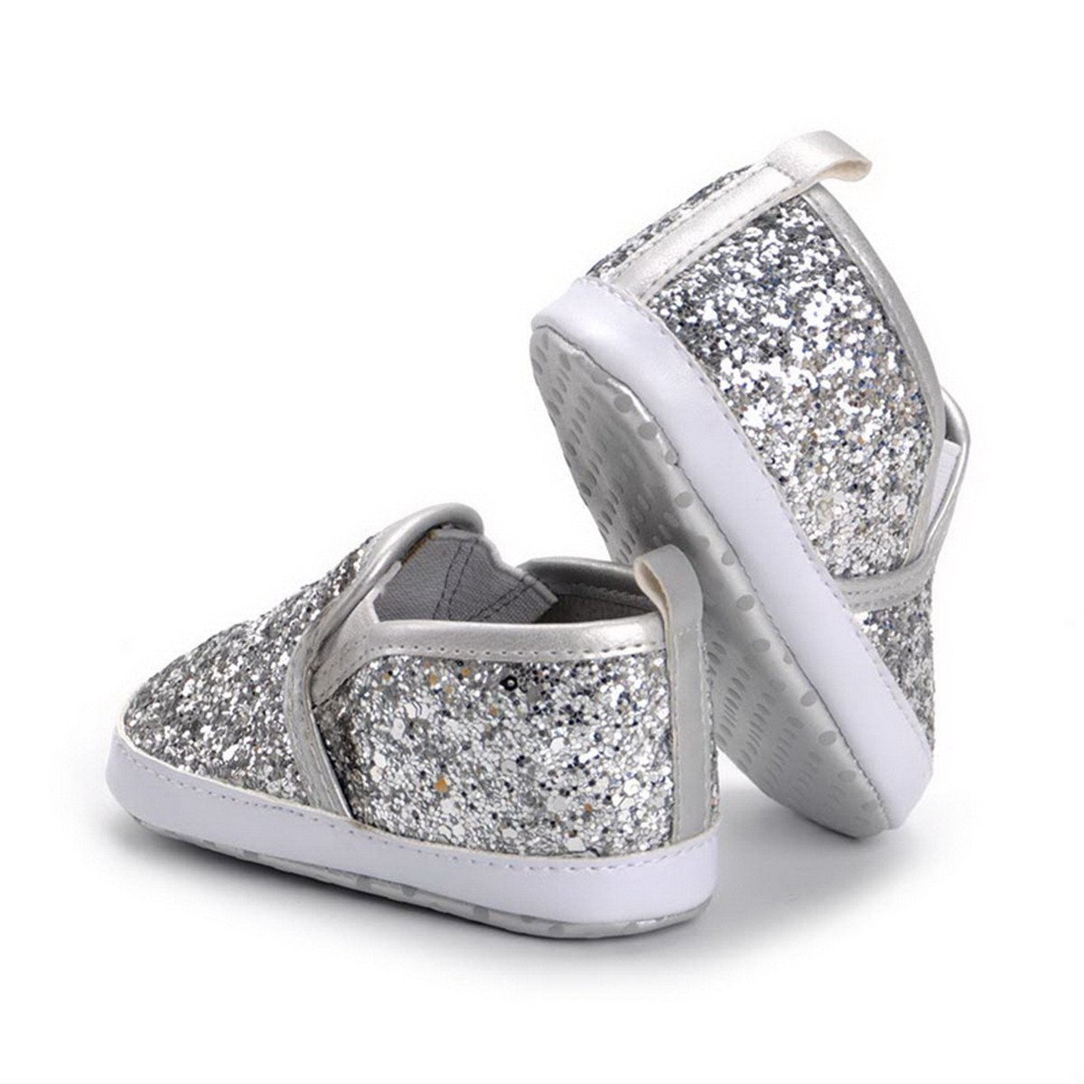 HONGTEYA Baby Boy Girls Sequin Crib Shoes Toddler Casual Glitter Moccasins Shoes Kids Sneakers