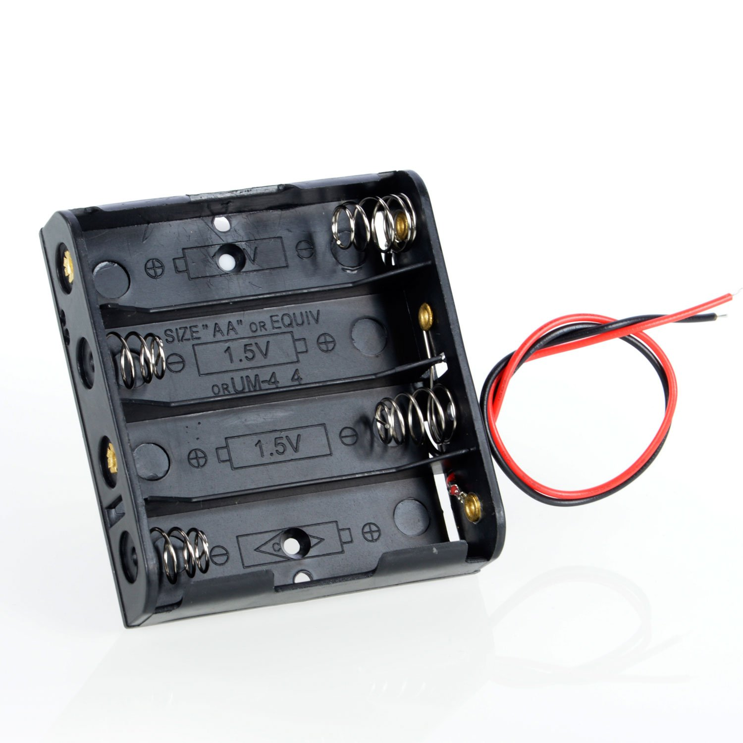 Neuftech High-Quality AA Four Sections on The 5th 4 6V Black Plastic Battery Case with Two Cables EU-BAT Case 4AA-6V