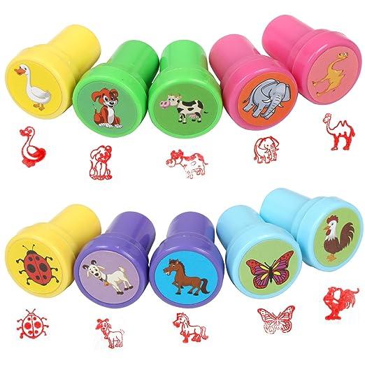 8 opinioni per TRIXES Confezione da 10 graziosi timbri giocattolo in plastica con animali per