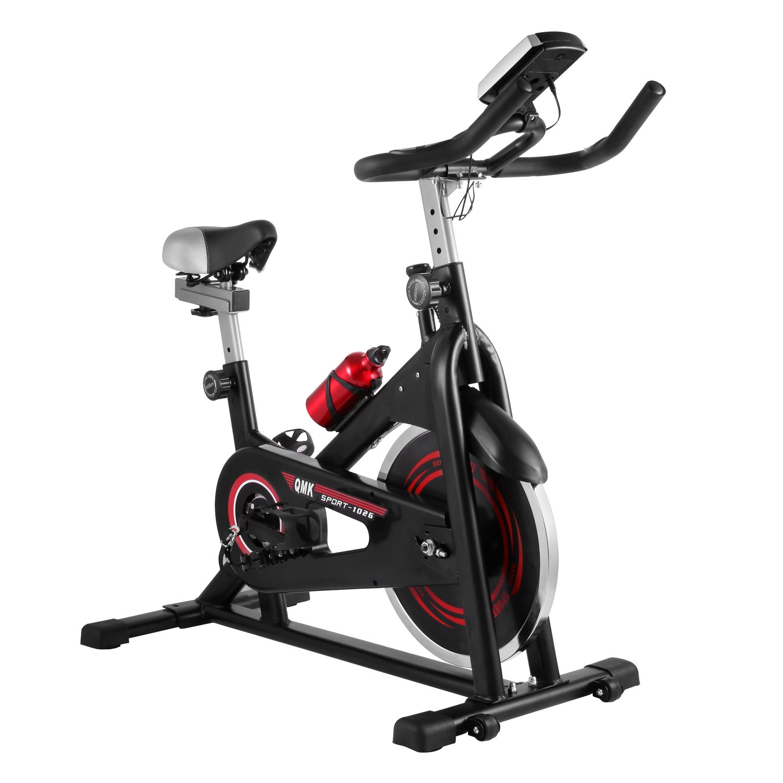 Happybuy Indoor Cycle Bike Adjustable Exercise Bike Cardio Workout Stationary Trainer Bicycle with LCD Display and Water Bottle for Indoor Healthy Fitness Exercising (JSC009)