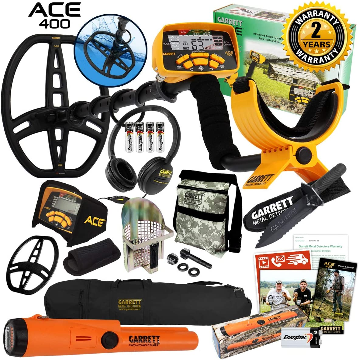 Garrett ACE 400 Metal Detector with DD Waterproof Coil, Propointer AT Pinpointer, Metal Scoop, Camo Pouch, Edge Digger and 50 Travel Bag