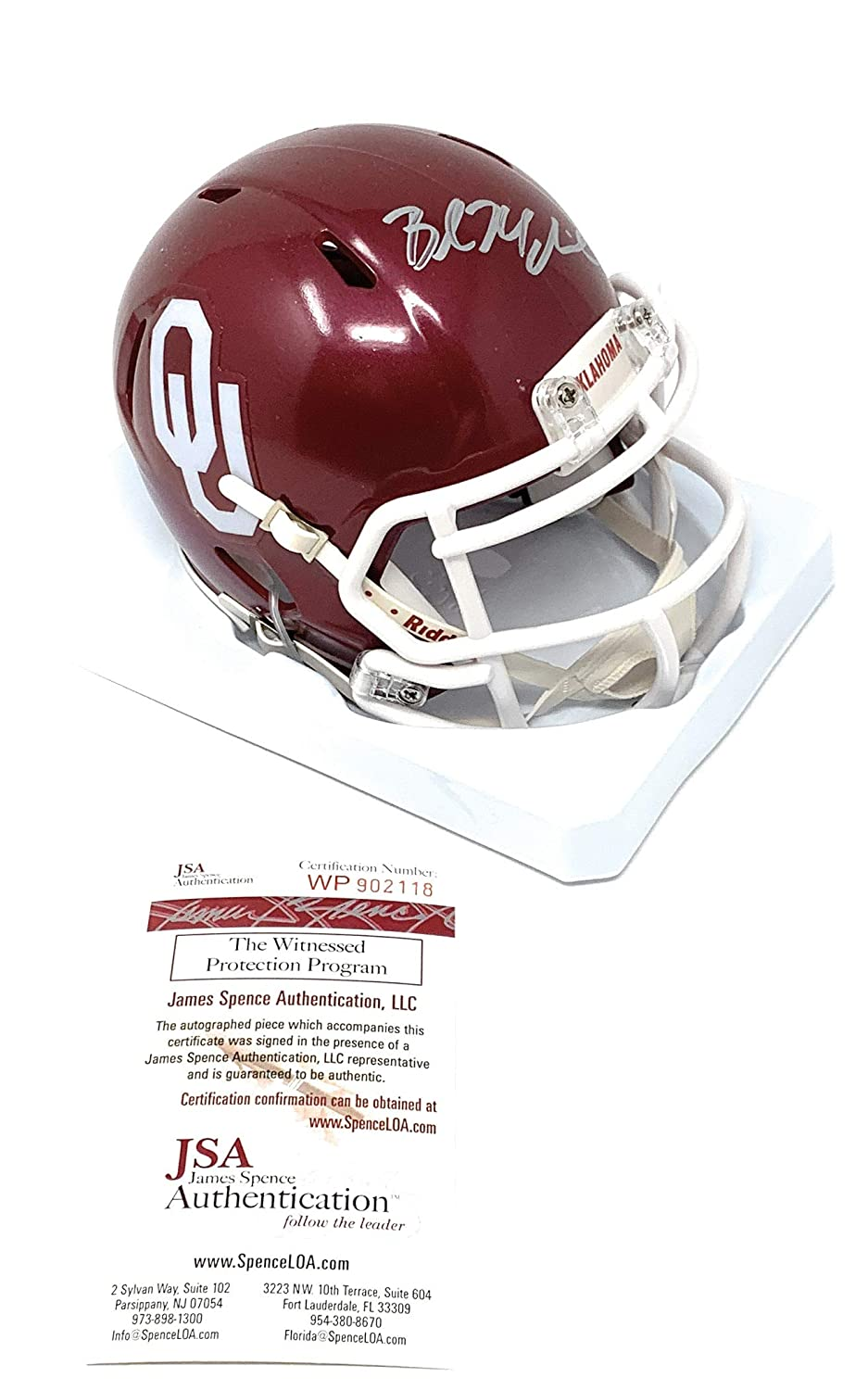 133c342bf Amazon.com  Baker Mayfield Oklahoma Sooners Signed Autograph Speed Mini  Helmet JSA Witnessed Certified  Sports Collectibles