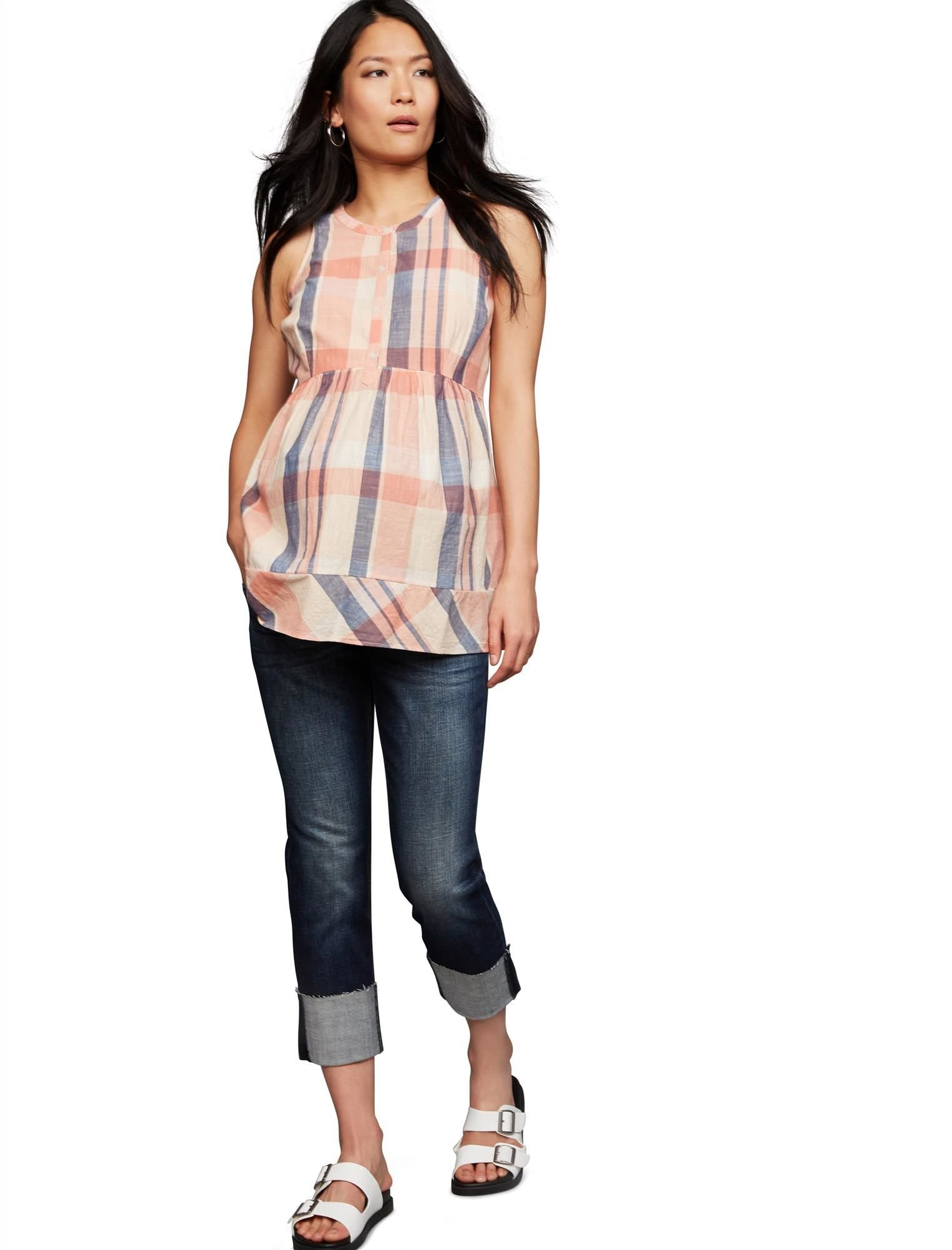 A Pea in the Pod Luxe Essentials Denim Secret Fit Belly Boyfriend Maternity Crop Jeans