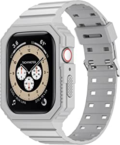 KRISVI Compatible with Apple Watch Band 38mm 40mm, TPU Rugged Sports Band with Protection Case for Men Women, iWatch Bands Replacement Wristband for iWatch Series 6 5 4 3 2 1 SE (Grey-38/40)