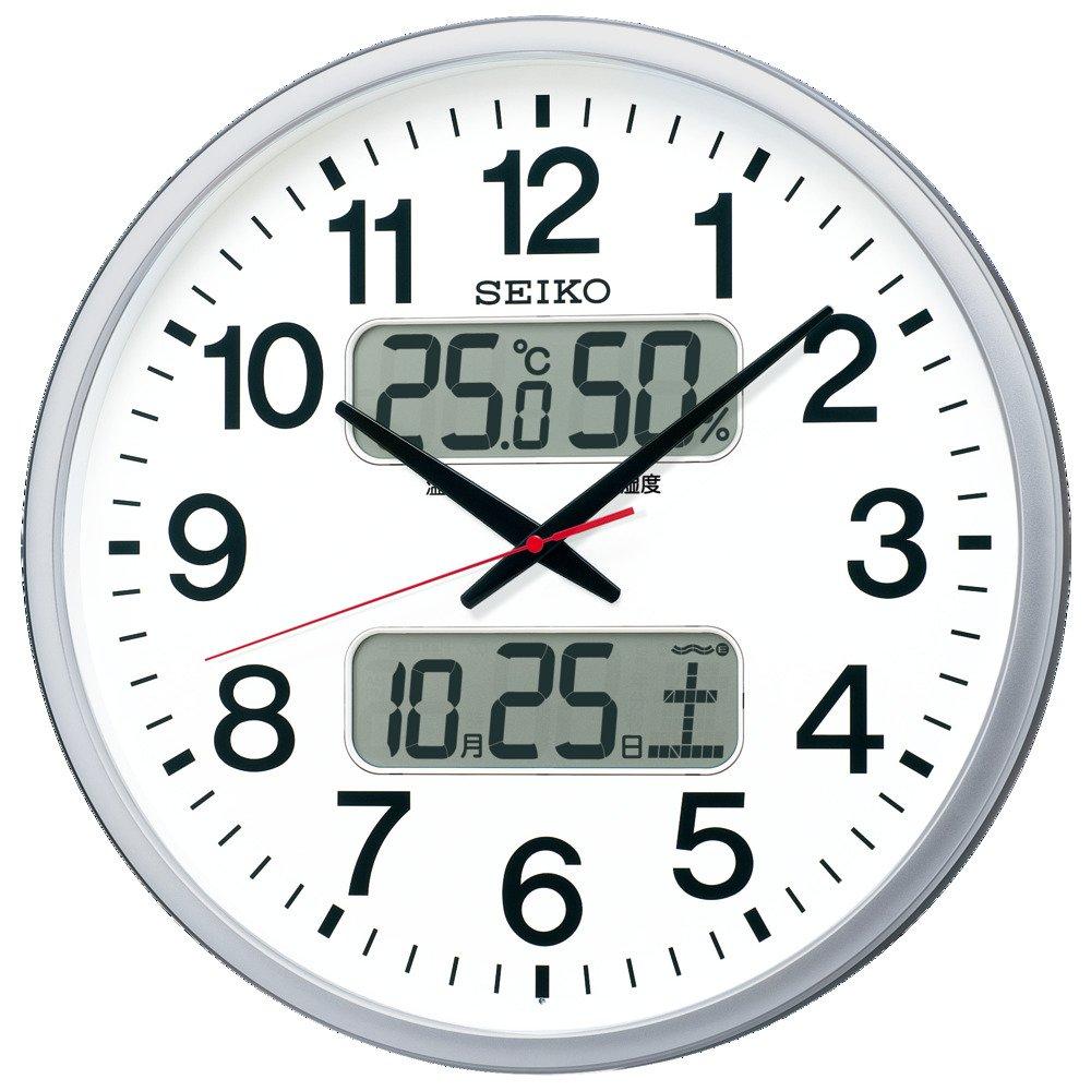 セイコー クロック 掛け時計 電波 アナログ カレンダー 温度 湿度 表示 銀色 メタリック KX237S SEIKO B077ZCB3TG 直径500mm|銀色メタリック 銀色メタリック 直径500mm