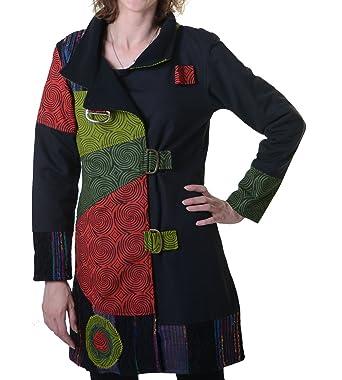 7f2fe378e5d9 Kunst und Magie Warmer Patchwork Mantel für Damen aus Baumwolle mit  Trendigen, Bunten Mustern,