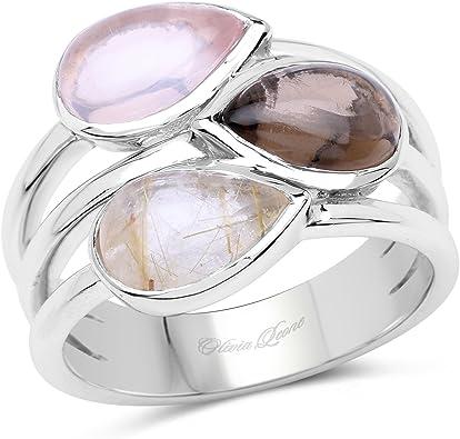 Quartz ring 925 rhodium plated silver