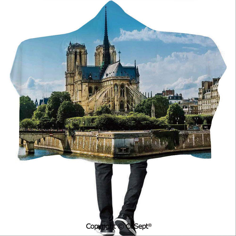 AmaUncle Hooded Blankets,Cathedrale Notre Dame De Paris Ancient Monumental Travel Destinations Cityscape,Camping Indoor Outdoor Travel(59.05x78.74 inch), by AmaUncle