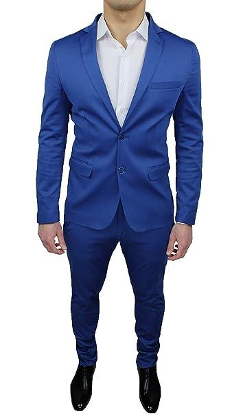 Abito completo uomo sartoriale raso blu chiaro lucido slim fit vestito elegante  cerimonia (50) fa4de9de8c7