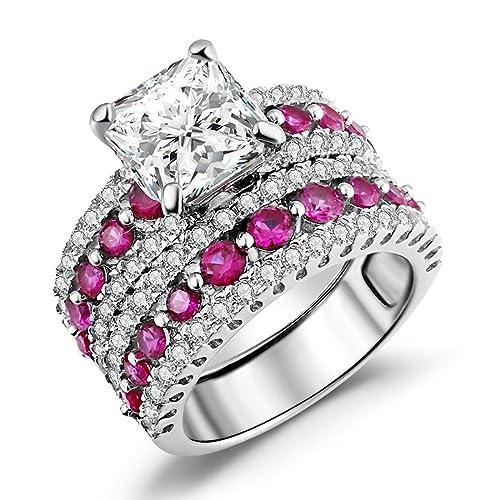 57843a75aebe6 Caperci Asscher Cut Bridal Ring Set, Created-Ruby & Cz Cubic Zirconia  Asscher-Cut Wedding Engagement Ring Set