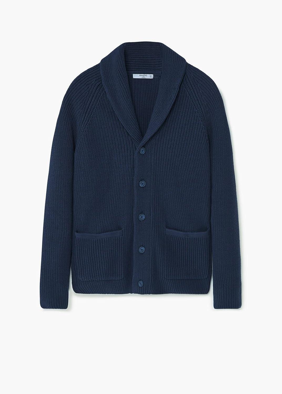 MANGO MAN - Lapel cotton cardigan - Size:XL - Color:Navy