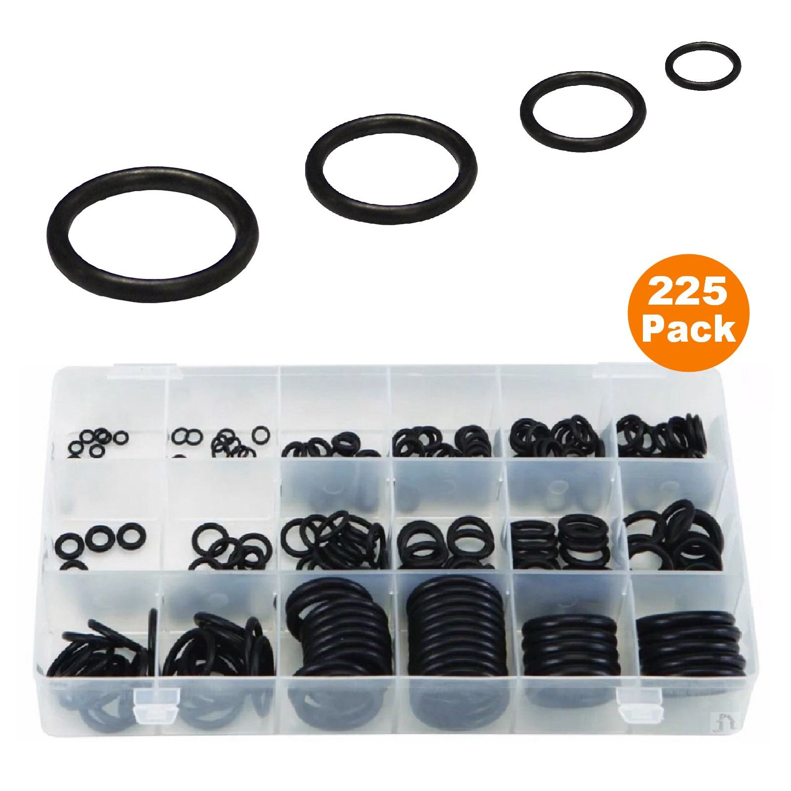 225 x Metric Nitrile O-Ring Seals, Tap Washer Plumbing Gaskets for Air & Liquids by Smart home